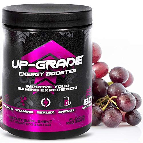 UP-GRADE - Energy Drink Pulver - Koffein Pulver für mehr Konzentration im e-Sport - 600 g 60 Servings (Red Grape)