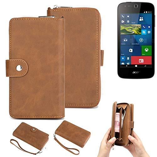 K-S-Trade® Handy-Schutz-Hülle Für -ACER Liquid M330- Portemonnee Tasche Wallet-Case Bookstyle-Etui Braun (1x)