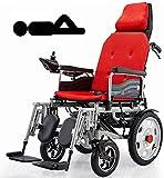 CHAIR Silla de ruedas, silla de rehabilitación médica para personas mayores, personas mayores, silla de ruedas eléctrica de servicio pesado con reposacabezas, silla de ruedas con motor plegable y liv