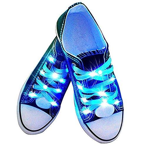 fourHeart LED Schnürsenkel 3 Lichtmodi +++ leuchtende Schuhbänder +++ 100 cm aus Nylon +++ Perfect für Sport Party Tanz Radsport Klub Disco Karneval Joggen Konzert Geburtstag Geschenk (Blau)