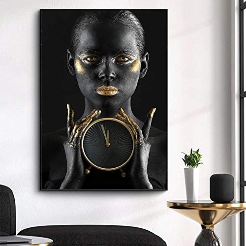 ZLARGEW Mujeres Negras africanas con Labios Dorados sosteniendo Reloj Despertador Lienzo Pintura impresión óleo Cuadro de Pared decoración Moderna decoración del hogar / 60x90cm sin Marco