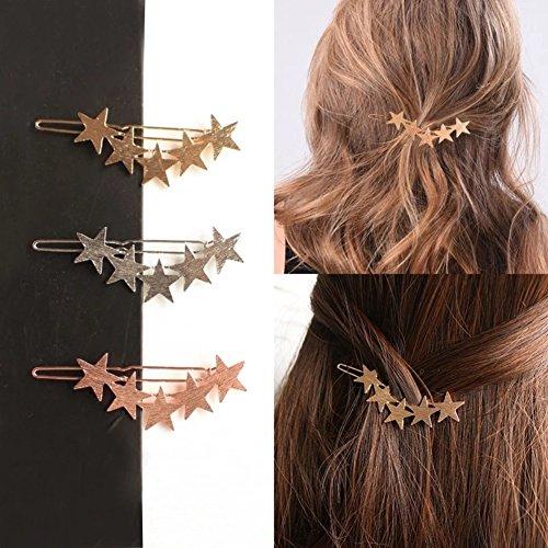 Bodhi2000® Épingle à cheveux tendance en forme d'étoile à cinq branches pour femme – Argenté (or rose)