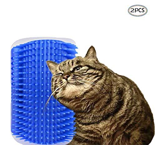 Generisch Katze Wand Bürste Ecke 2 Stücke mit Katzenminze Massageecke Self Groomer Massagekamm für Katzenspielzeug Selbst Pflege Bürste für Haustier
