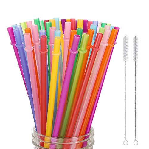 Hiware 52 Pcs Reusable Plastic Straws for Tumbler, Mason Jars, Cupture/Maars Acrylic, YETI/RTIC, Starbucks, Tervis, 10.25