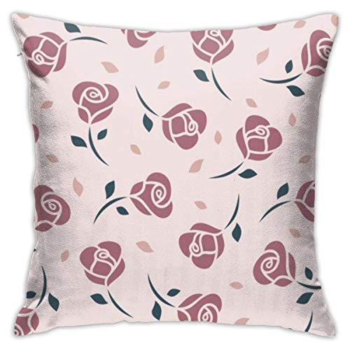 Throw Pillowcases Square Cushion Cover 45X45CM for Sofa Couch Bed Home Decoration, Illustration Roses Seamless Pattern