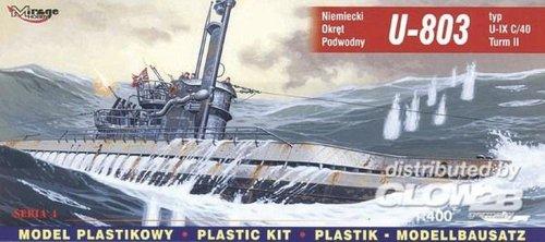 Mirage Hobby 40044, 1: 400 échelle, U-803 de type IX U-Turm Et Un sous-marin allemand, kit de modèle en plastique