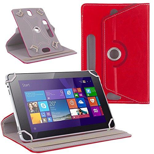 NAUC Tablet Tasche Hülle für CSL Panther Tab 10 Schutzhülle Cover Case 360° Universal, Farben:Rot