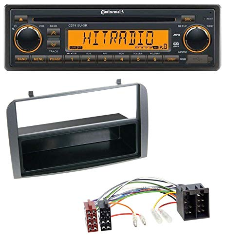 caraudio24 Continental CD7416U-OR USB AUX CD MP3 1DIN Autoradio für Alfa Romeo 147 GT Ablagefach anthrazit