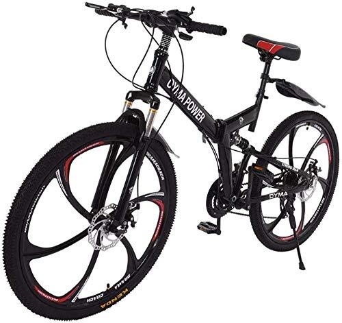 SYCY Bicicleta de montaña Plegable de 26 Pulgadas Shimanos Bicicleta de 21 velocidades Bicicleta de MTB con suspensión Completa Bicicletas cómodas Bicicleta de Playa Cruiser