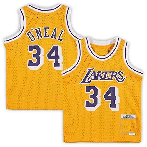DDDE Abbigliamento da basket giovanile Shaquille Los Angeles NO.34 Lakers O'Neal Infant Retired Player Jersey ad asciugatura rapida senza maniche Gilet Uniforme-Gold