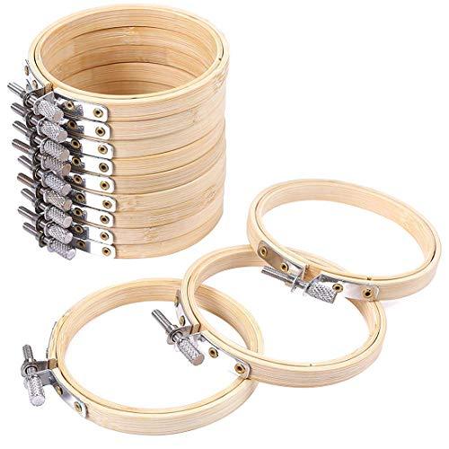 FineInno 12 Stücke Stickrahmen Holz Embroidery Hoops Kreuztisch Stickerei Verstellbar Nähen Bambus Kreis Set Hoop Ring Craft 3inch (12 Stücke Stickrahmen,3inch)