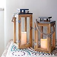 Lights4fun - Farolillo Grande de Madera con Vela LED a Pilas y Asa de Cuerda