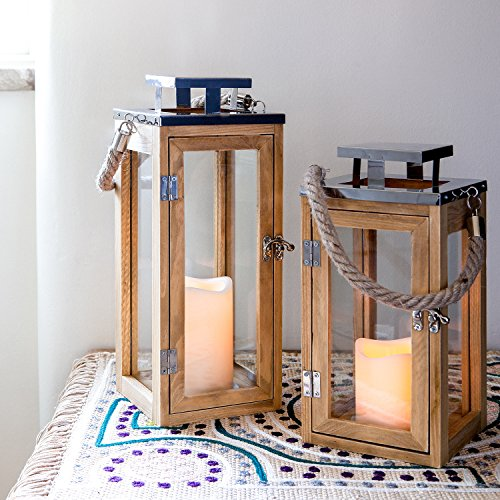 Lights4fun Salcombe 2er Set Holz Laternen mit LED Kerzen Timer Batteriebetrieb