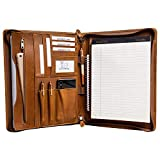 Gavarnie Genuine Leather Professioal Business Portfolio Padfolio Folder with Zipper for Men and Women,Work Portfolio with Notepad for Meeting and Travel, Brown