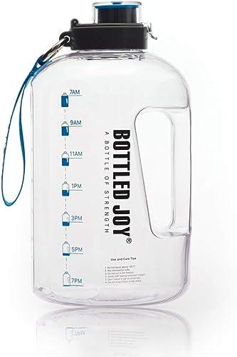 BOTTLED JOY 50oz Water Bottle, BPA Free 1.5L Kids Water Bottle Hydration with Motivational Time Marker Reminder Leak-...