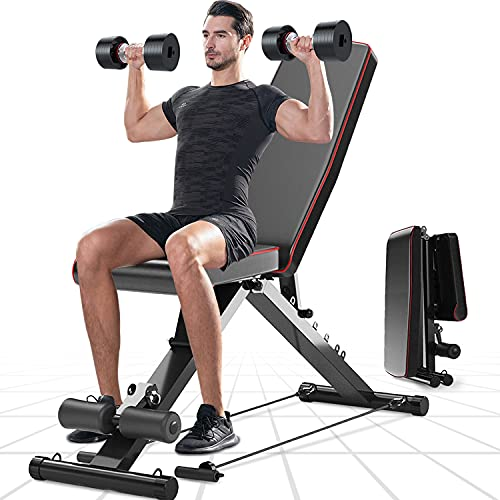 Dripex Adjustable Weight Bench, Utility Bench Press for Full Body Workout, Foldable Incline Decline Flat Gym Bench