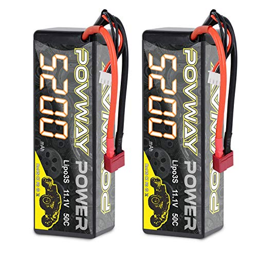 POVWAY Lipo Battery 3S RC Battery 11.1V 50C for RC Cars, RC Truck,Helicopter, Airplane (5200 3S haredcase-2pack)