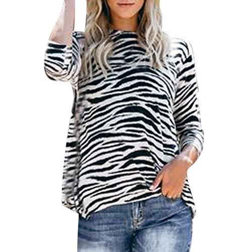 BBring Damen Zebra Camouflage Bluse, Lange Lose Pullover O Ausschnitt Mode Casual T-Shirt Sweater Langarm Warm Herbst Sweatshirt Winter Bluse (XL, Schwarz)