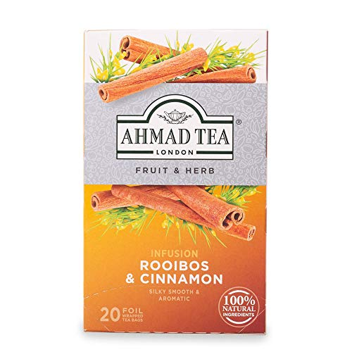 Ahmad Tea Rooibos & Cinnamon Rooibostee mit Zimt-Geschmack 20 Teebeutel mit Band/Tagged, 30 g