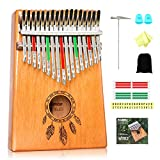 Kalimba 17 Keys Thumb Piano - Portable Finger Thumb Piano, Mahogany Wood, Mbira with Tuning Hammer Piano Bag Study Instruction, Kalimba Christmas Gift for Children Beginners