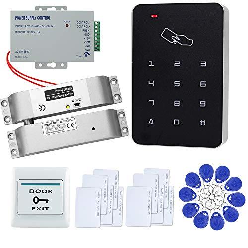 FTSTech Kit de Seguridad para el Hogar con Control de Acceso de Puerta RFID con Teclado Independiente de 125KHz+Cerradura Eléctrica+Fuente de Alimentación(Kit de Cerradura de Perno Eléctrico)