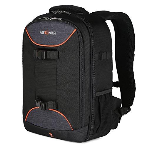 K&F Concept Zaino per Fotocamera Reflex Laptop per Canon Nikon Sony Cameras (30cm * 16cm * 42cm), Colore Nero
