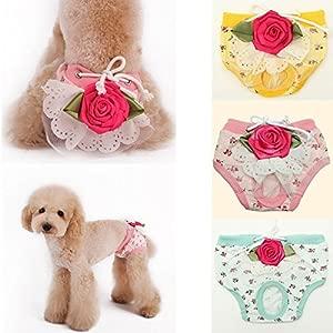 Bazaar Pet Female Dog Puppy Underwear Floral Sanitary Shorts Pant Diaper