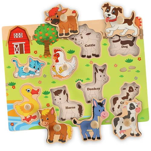 BeanGenius Toddler Puzzles  Kids Wooden Toys Early Preschool Educational Animal Toys for Toddlers 1-3 Gift for Boys Girls-Farm Animals