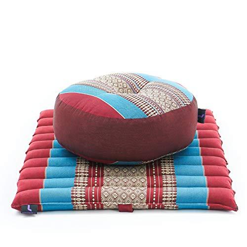 LEEWADEE Mini Set da Meditazione: Piccolo Cuscino Zafu e Tappetino Zabuton, Kit Tailandese per meditare Ecologico in kapok, Blu Rosso