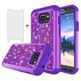 Phone Case for Samsung Galaxy S7 Active with Tempered Glass Screen Protector Cover and Rugged Bling Glitter Cell Accessories Slim Silicone Glaxay S7Active 7s S 7 7Active G891A Cases Women Girls Purple