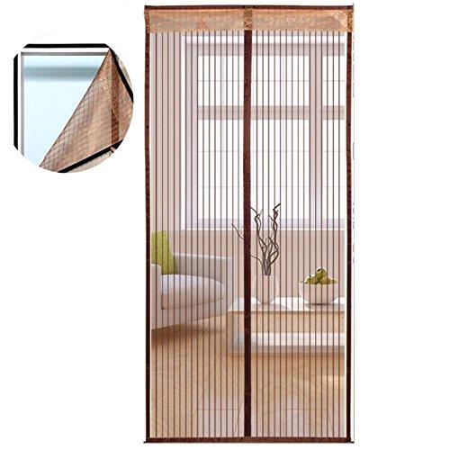 Icegrey Fly Screen Deur/Insect Protection Fly Magnetische Gordijn Deur/Gordijn voor balkon woonkamer - Klittenbandsluiting 85x200cm Braun(eingebaut Klettband Design)