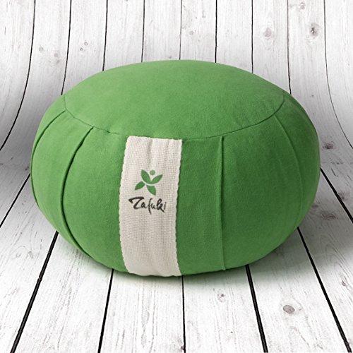 ZAFUKI Cojín Redondo Yoga, Verde Amazonas, Relleno de cáscara de espelta/zafu/Cojín de meditación/Base para meditar. Loneta 100% algodón