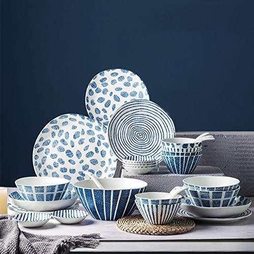 XLNB Juego de vajilla, platos de cerámica y juegos de tazón, platos de porcelana de estilo japonés pintados a mano, para pasta, ensalada, principal, microondas y lavavajillas, 10 unidades para 2