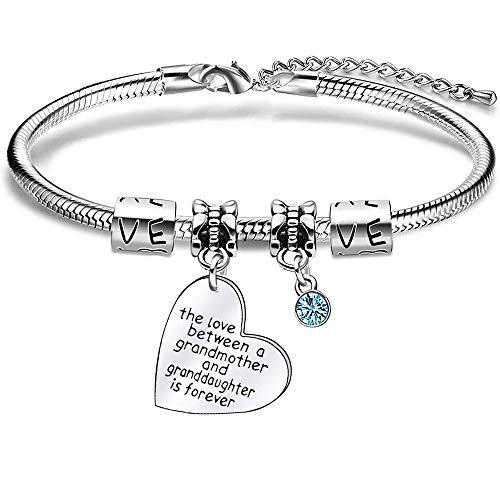 Grandmother Granddaughter Gifts Charm Snake Bracelet Bangle for Women Girls Christmas Birthday Gift
