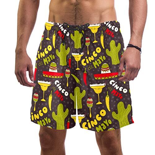 LORVIES Cinco De Mayo Cactus Hat Chiili Pattern - Bañador para hombre, secado rápido, talla L multicolor XL