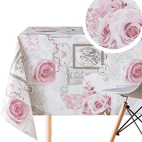 Grau Wachstuch mit Staubrosa Rosen Shabby Chic Stil und weiß Spitze Muster - Abwischbare PVC Wachstuchtischdecke...