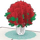 PaperCrush® Pop-Up Karte Rote Rosen - Handgemachte 3D Geburtstagskarte mit Rosenstrauß, Blumengruß zum Geburtstag, Hochzeitstag oder Jahrestag - Blumen Glückwunschkarte für Mutter, Frau oder Freundin