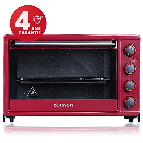 Oursson Mini-Backofen 30 Liter, 9 Kochkombinationen, Selbstreinigungs-Funktion, 1500 Watt, Dunkelrot, MO3020/DC