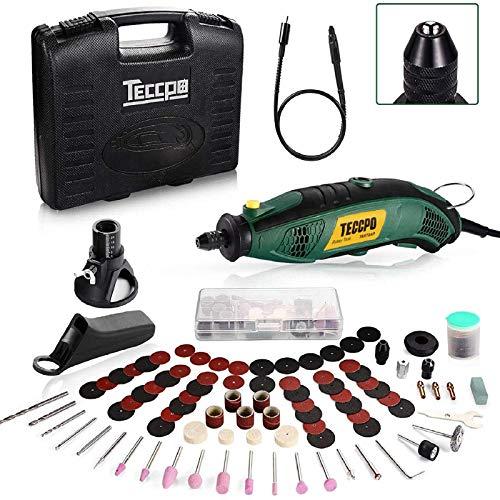 Multifunktionswerkzeug TECCPO 170W Drehwerkzeug mit 80 Werkzeugen, 8000-35000RPM, biegsame Welle, variabler 5-Gang-Minibohrer, ideal zum Gravieren, Schneiden, Polieren und Bohren - TART04P.