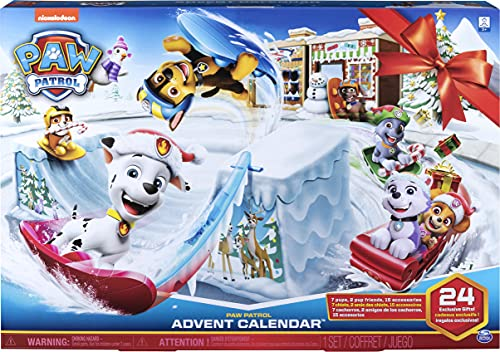 PAW PATROL 6052489 - Calendario dell'Avvento 2019 con 24 Pezzi da Collezione, per Bambini dai 3 Anni in su