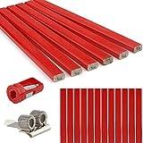 Rybtd 20 Piezas Lápiz para carpintero HB 177 mm Lápiz octogonal con Sacapuntas para uso profesional en la construcción de carpintería (rojo)
