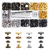 JOLIGAEA 120 Pcs Botones de Presion, 4 Colores, Corchetes de Presion Metalicos, Remaches de Cuero, Snaps para Ropa, chaquetas, jeans, pulseras, bolsos, con 4 herramientas de instalación