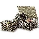 Juego 3 cestas de mimbre con tapa y asa para la organización y decoración del...