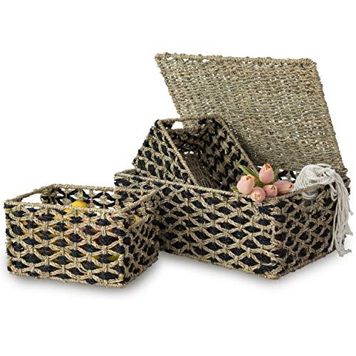 Juego 3 cestas de mimbre con tapa y asa para la organización y decoración del hogar, cestas de tapa de mimbre para estantes con asas empotradas,Almacenamiento de paja tejida para cocina, despensa