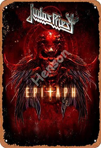 Henson Judas Priest Epitaph Vintage Tin Sign Logo 12 * 8 inches Advertising Eye-Catching Wall Decoration