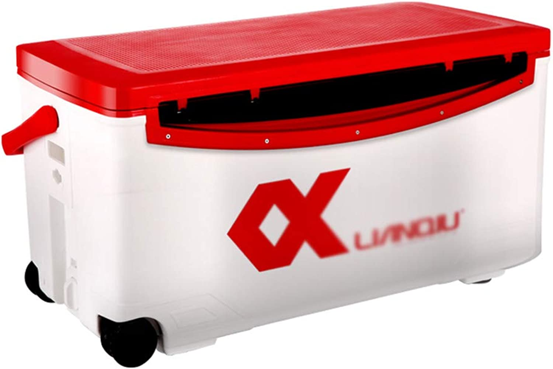 Angelausrüstung Angelgerte-Boxen Angelbox Kühlbox Multifunktions-Angelbox Aufbewahrungsbox 45 Liter Inhalt Geschenk (Farbe   rot, Größe   70  34  51cm)