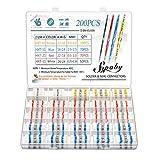 200Pcs Solder Seal conector, sopoby Solder Seal calor Shrink Butt conectores terminales el¨¦ctricos cobre con funda