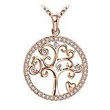 Collier, J.Rosée Argent 925, Collier Or Rose Bijoux Femme/Fille, 5A Zirconium cubique, Chaîne 45+5cm, Cadeau avec Paquet...
