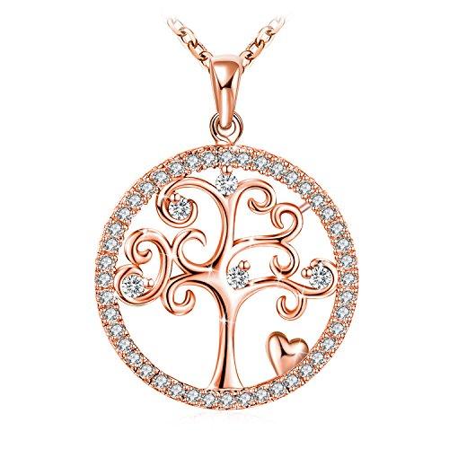 Collier, J.Rosée Argent 925, Collier Or Rose Bijoux Femme/Fille, 5A Zirconium cubique,...