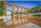 1000 piezas-Pont du Gard Provence en Francia Rompecabezas de madera DIY Rompecabezas educativos para niños Regalo de descompresión para adultos Juegos creativos Juguetes Rompecabezas
